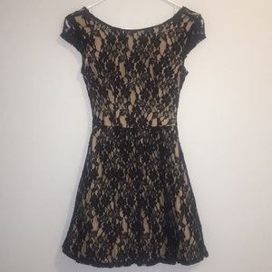 Dresses & Skirts - Juniors Navy Lace/Nude Formal Dress